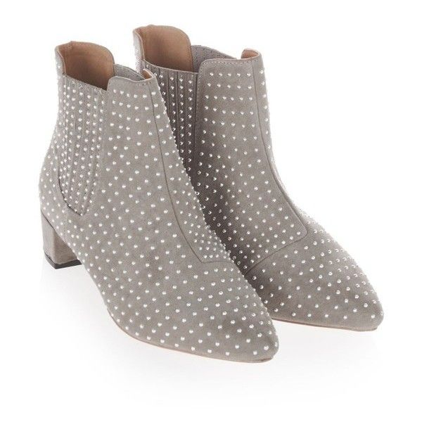 Women's Topshop Killer Studded Chelsea Boot ($65) via Polyvore featuring shoes, boots, grey, gray chelsea boots, chelsea ankle boots, pointed-toe chelsea boots, studded shoes and pointy toe shoes