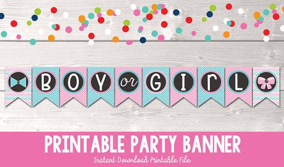 Printable Gender Reveal Party Banner Instant Download Boy or Girl