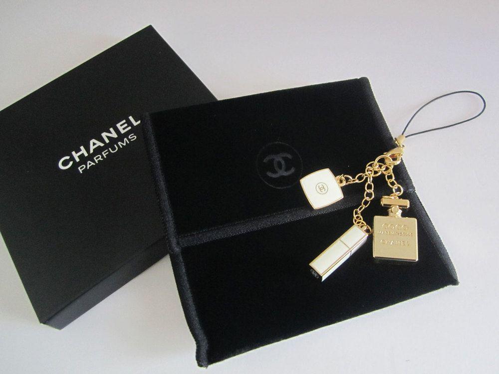 96ef683530fd CHANEL Perfume Compact Lipstick Charm / Phone Strap / Keychain by  sweeeties.com
