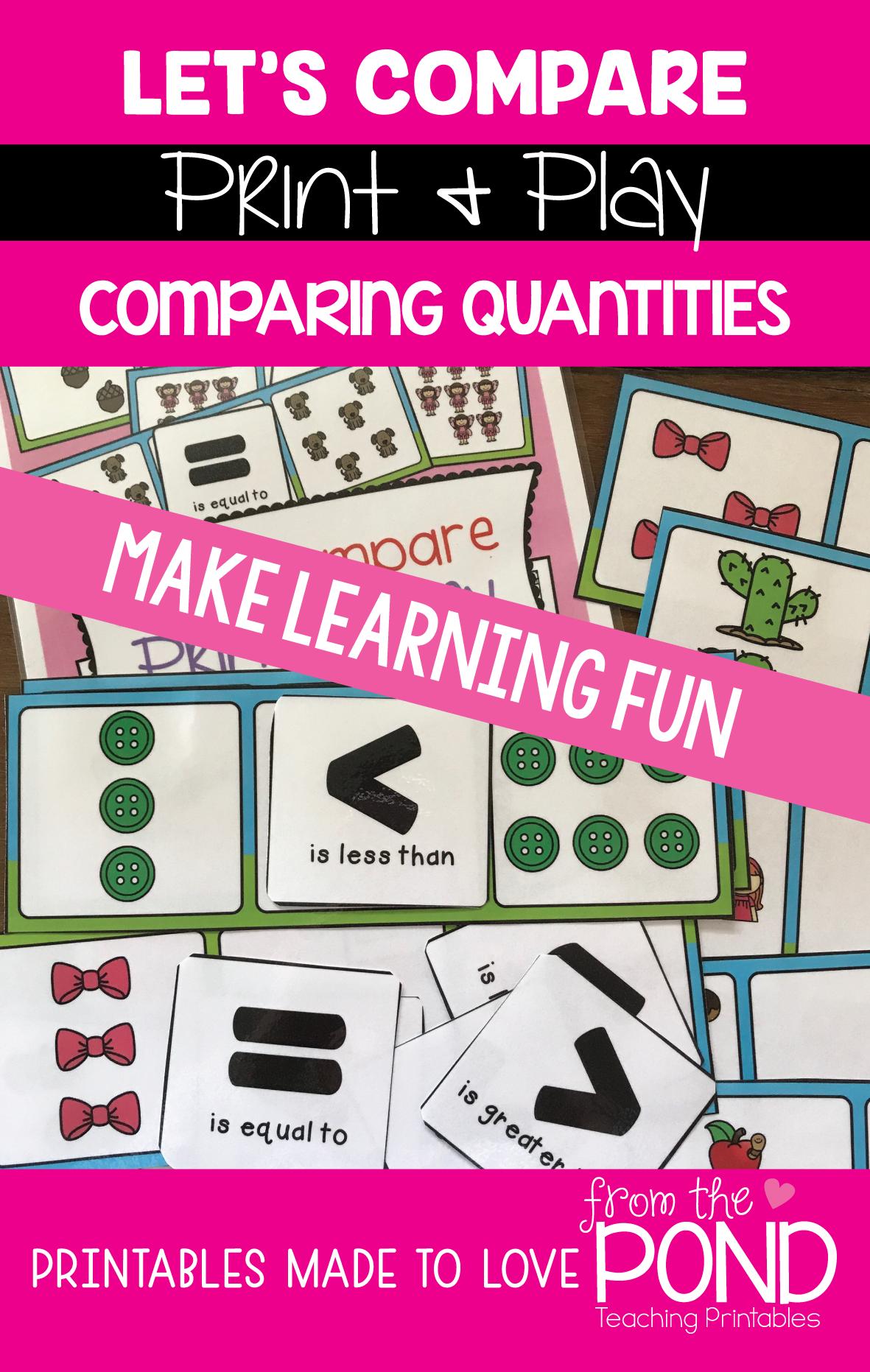Comparing Quantities Math Activities Pack 8