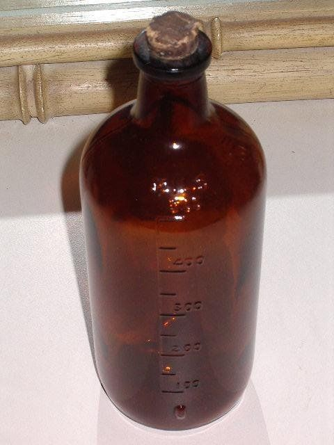 Amber Brown Glass Bottle MILS 500 Vintage Apothecary Rx