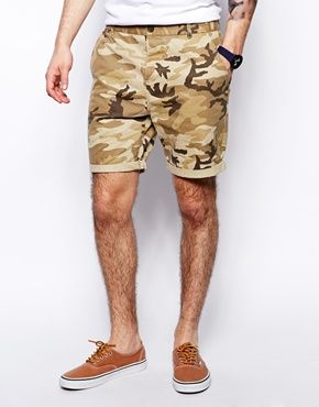 ASOS Chino Shorts In Mid Length With Camo Print