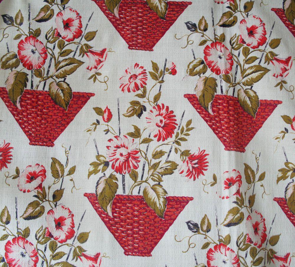 vintage 1950s cotton barkcloth print floral and baskets