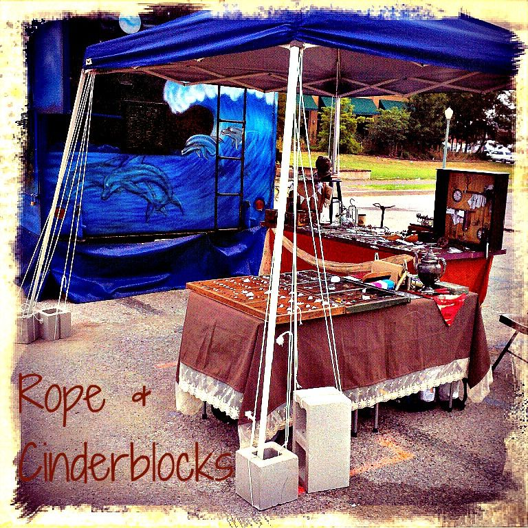 Tent Weight DIY--use cement cinder blocks! I would just bungee cord them to each leg of the tent. & When the Wind Comes Sweepinu0027 Down the Plain; Tent Weight DIY ...
