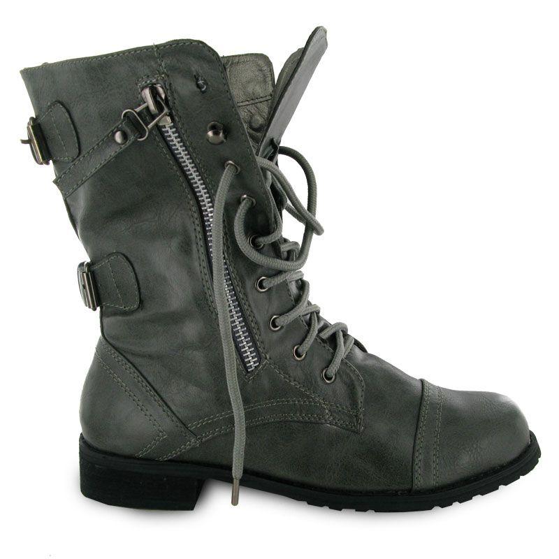 Combat Boots Women New Ladies Military Grey Army Combat