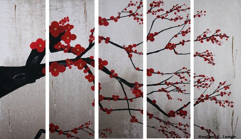 Canvas Original Art Painting 5 Piece Set Modern Cherry Blossom Tree Branch Red Flowers Asian Inspired Made To Order by HeatherLangeArt on Etsy