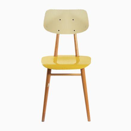 Tschechoslowakischer Stuhl in Gelb & Creme von TON, 1960er Jetzt ...