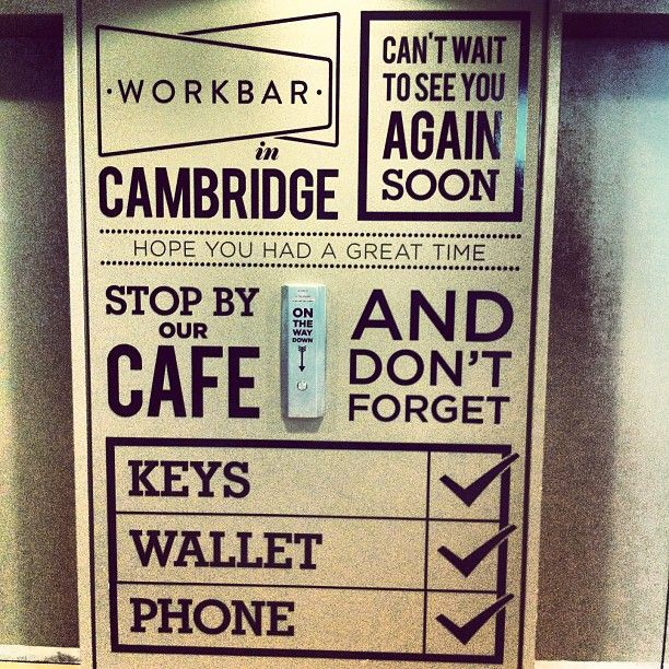 Inspired use of space outside the lifts. @ Workbar Cambridge (via @Keir Whitaker)