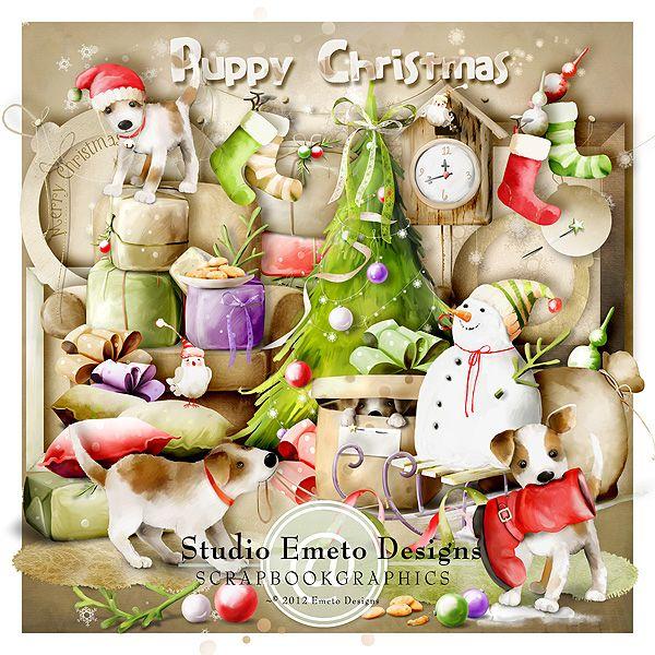 Puppy Christmas By Emeto Designs Scrapbookgraphics Christmas