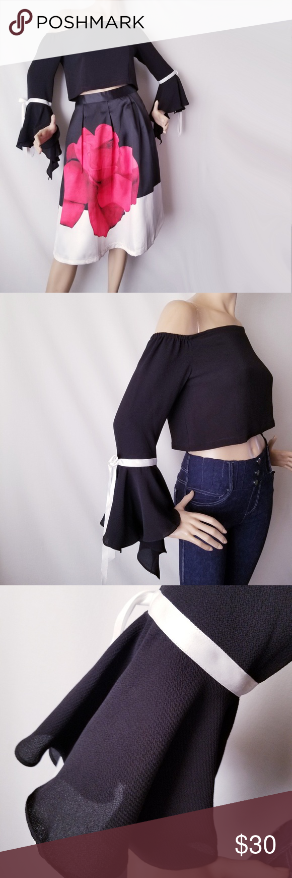 a23ff76e88c Hesperus Black Off Shoulder Top With Bell Sleeves New with tags. Black  textured crop top with white ribbon trim on the sleeves.