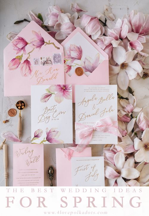 Spring Wedding Invitations Magnolia Flowers Stationery With