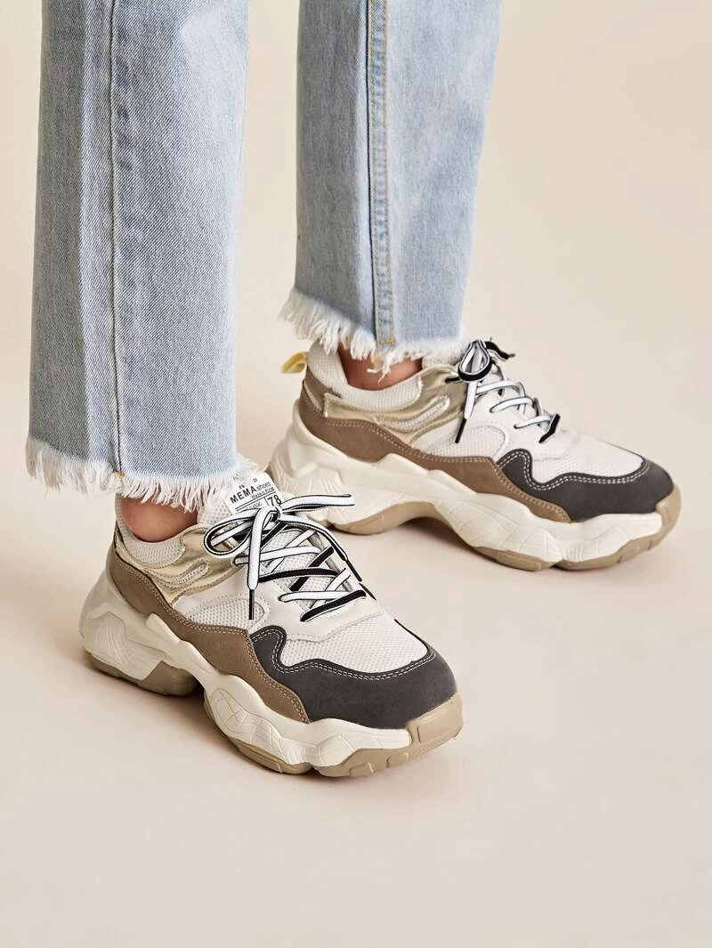 Lace Up Chunky Trainers   ROMWE in 2020