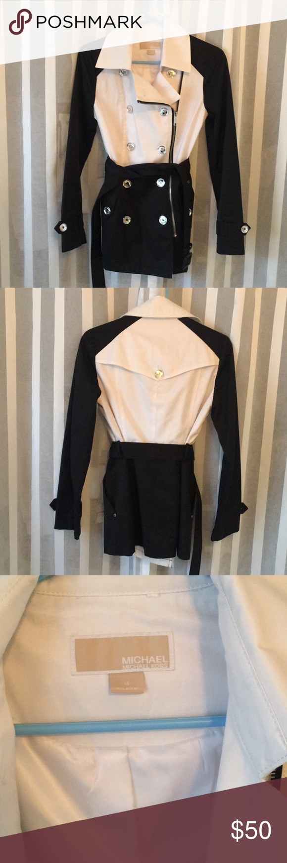 Michael Kors Jacket Nwot Black And White Trench Is So Versible It Was A Must Have When I Bought It And I Ju Clothes Design Michael Kors Jackets Fashion Design [ 1740 x 580 Pixel ]