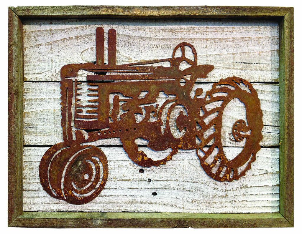 Rustic Reclaimed Metal Old Tractor Frame Wall Décor