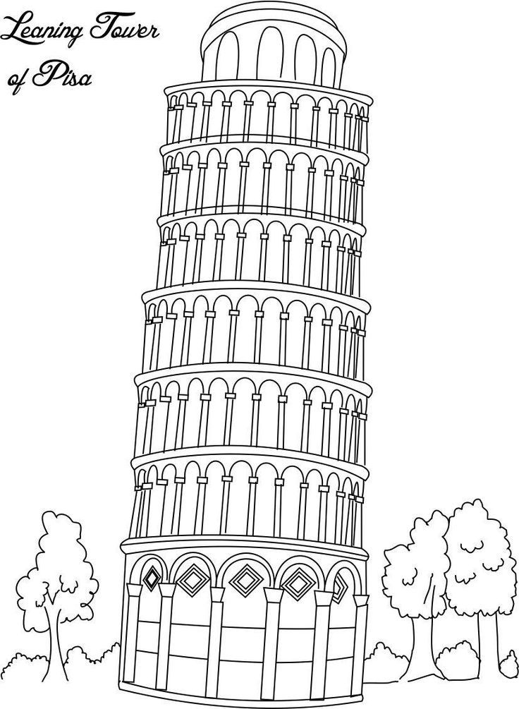 collection of landmarks around the world coloring pages leaning tower of pisa italy - Paris Eiffel Tower Coloring Pages