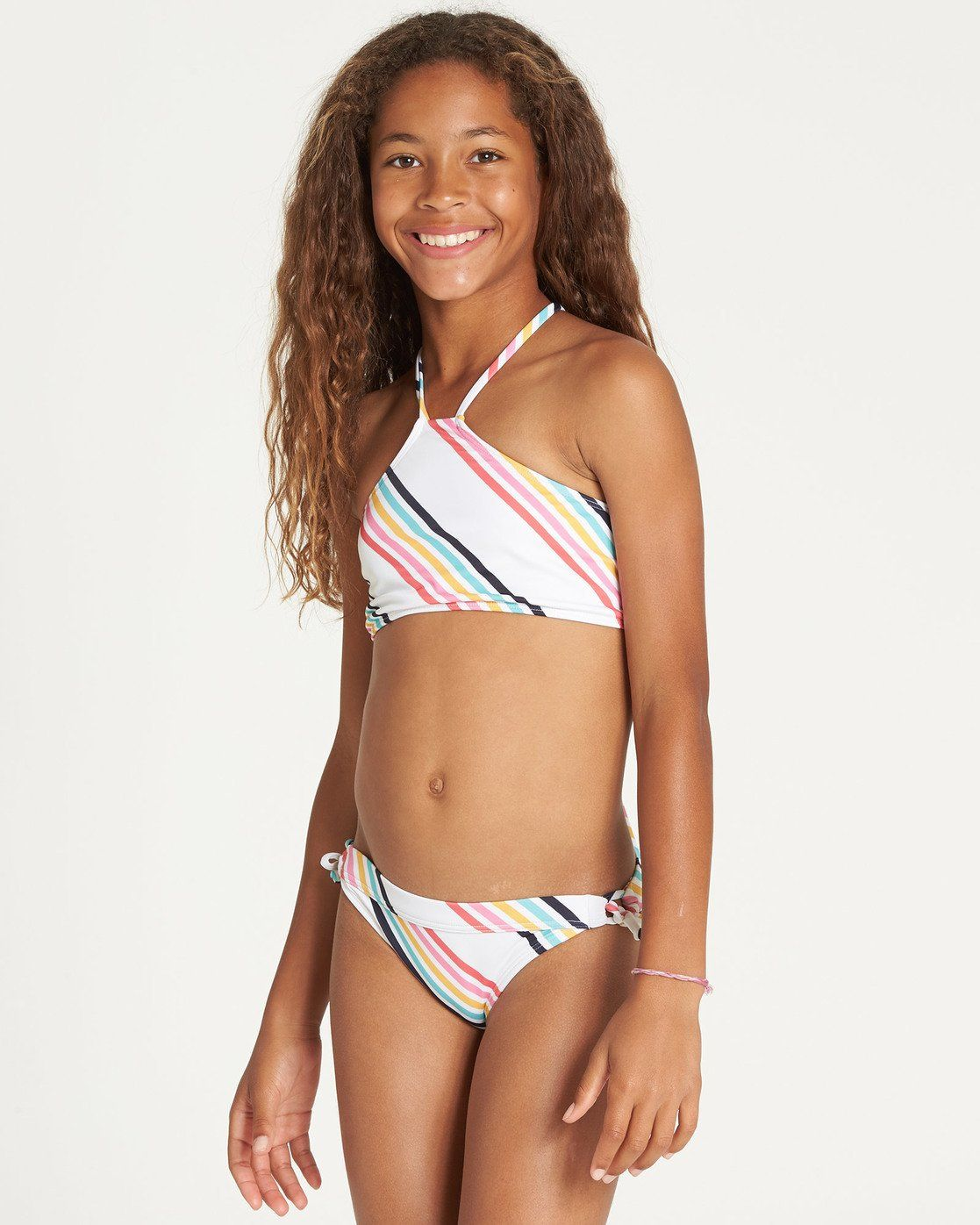 Rainbow Geometric Shapes Tie Back Strapless Swimsuit XS-3XL