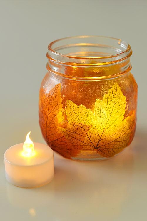 How to Make Beautiful Mason Jar Leaf Lanterns