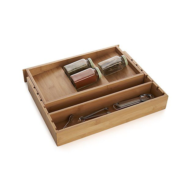 Expandable Bamboo Spice Organizer Spice Organization Crate And Barrel Flatware Organizer