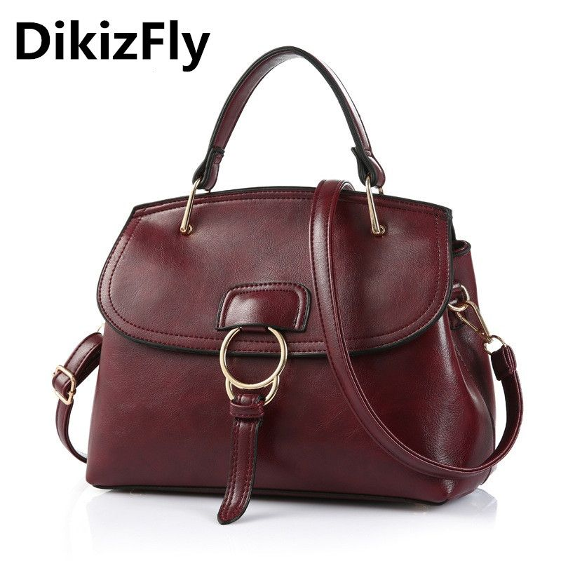 DikizFly Famous Brand Europe women leather handbags PU leather women bags  Tote Bag Ladies Solid Color 5227280bf5f29