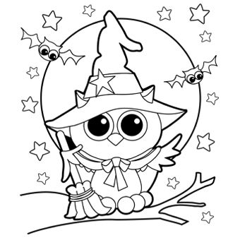 cutehalloweencoloringpagesforkids owl witch - Cute Halloween Bat Coloring Pages