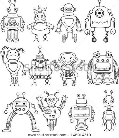 doodle robots vector doodle animals characters in 2019 robots dibujo cosas para dibujar. Black Bedroom Furniture Sets. Home Design Ideas