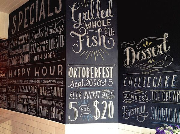 Designer Creates Hand-Lettered Chalkboard Menus In Exchange For ...