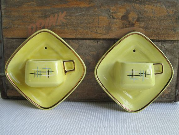 Vintage Ceramic Wall Decor Stanford Sebring Pottery Pair of Yellow ...