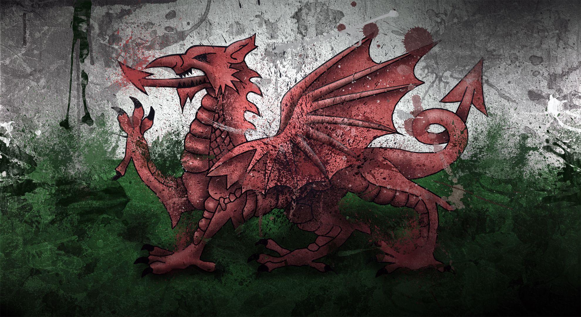 Magnaen Welsh Flag Welsh Dragon Flag Art