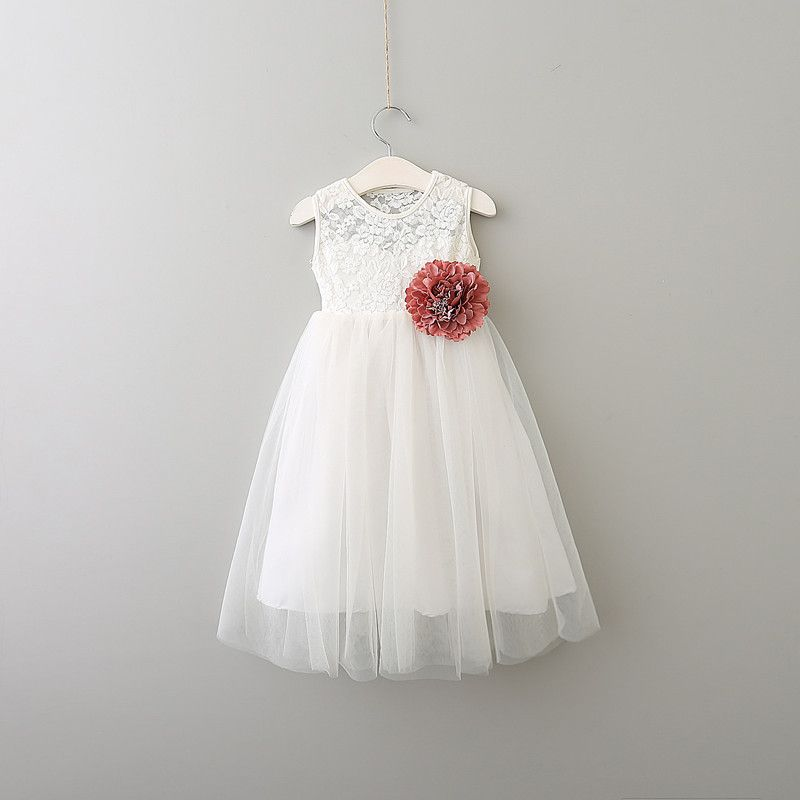 8b347c497a5 Everweekend Princess Girls Tutu Lace Party Dress Princess White Dress with  Flower Bands Sweet Children Summer Holiday Dresses