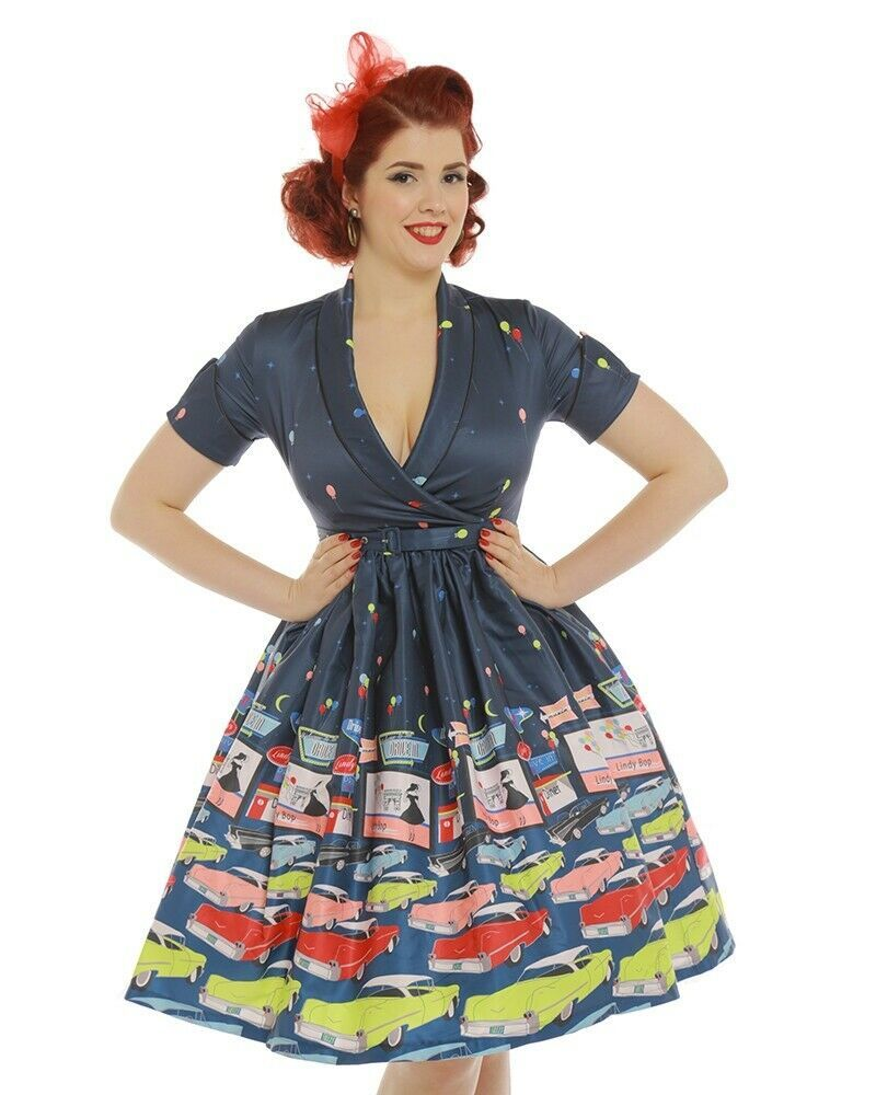 Diner Drive In 50s Cars Lindy Bop Pinup Rockabilly Swing Dress Swing Dress Style Swing Dress Rockabilly Swing Dress