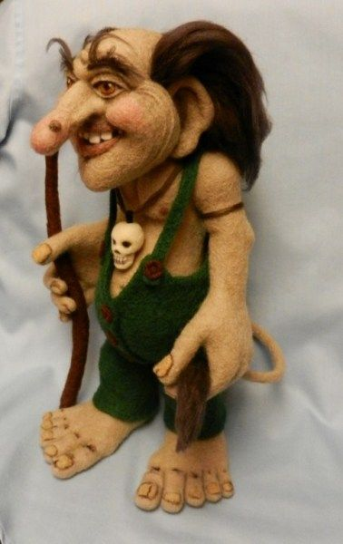 Needle felted troll that is amazing in detail by a fellow needle felter.