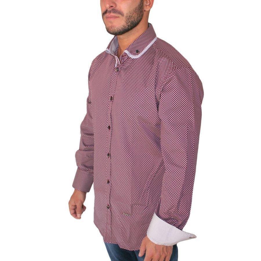 154011df9cd4 STEFAN Ανδρικό μαύρο μακρυμάνικο slim fit πουά πουκάμισο