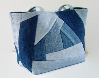 Denim Blue Jean Tote Bag, Upcycled Denim and Reclaimed Fabric ... : fabric quilted handbags - Adamdwight.com