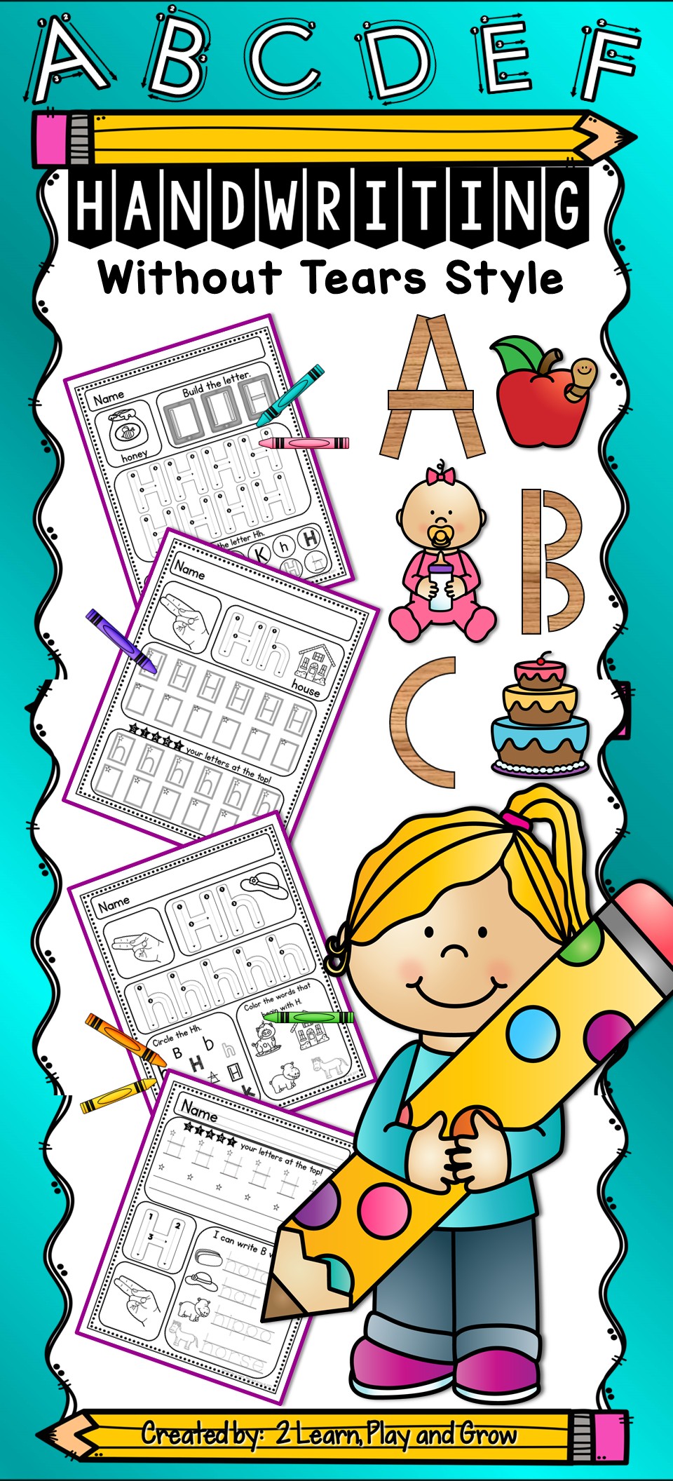 handwriting without tears style worksheets - differentiated pre-k