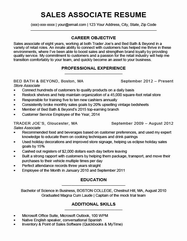 Resume Examples For Sales Associate Inspirational Sales Associate Resume Sample Writing Tips In 2020 Nursing Resume Examples Resume Examples Sales Resume Examples