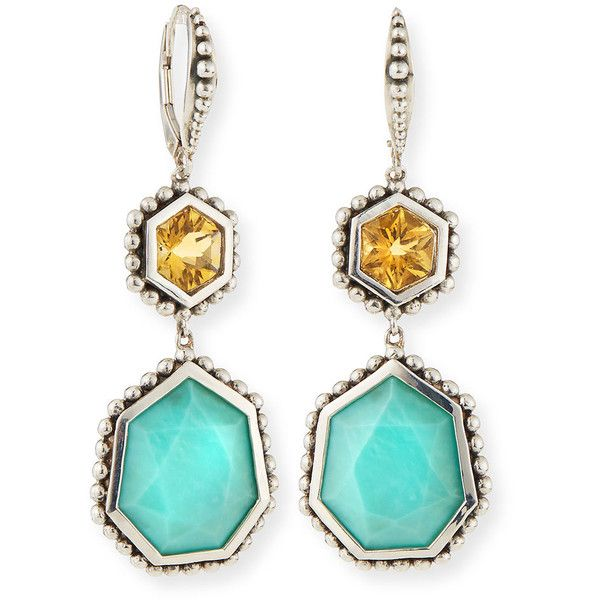 8150fe0dd Stephen Dweck Citrine & Turquoise Hexagon Drop Earrings - Na (€435) found  on Polyvore