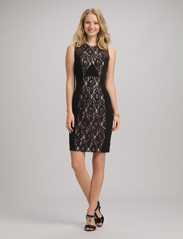 Misses Dresses Lace Dresses Lace Inset Dress Lace