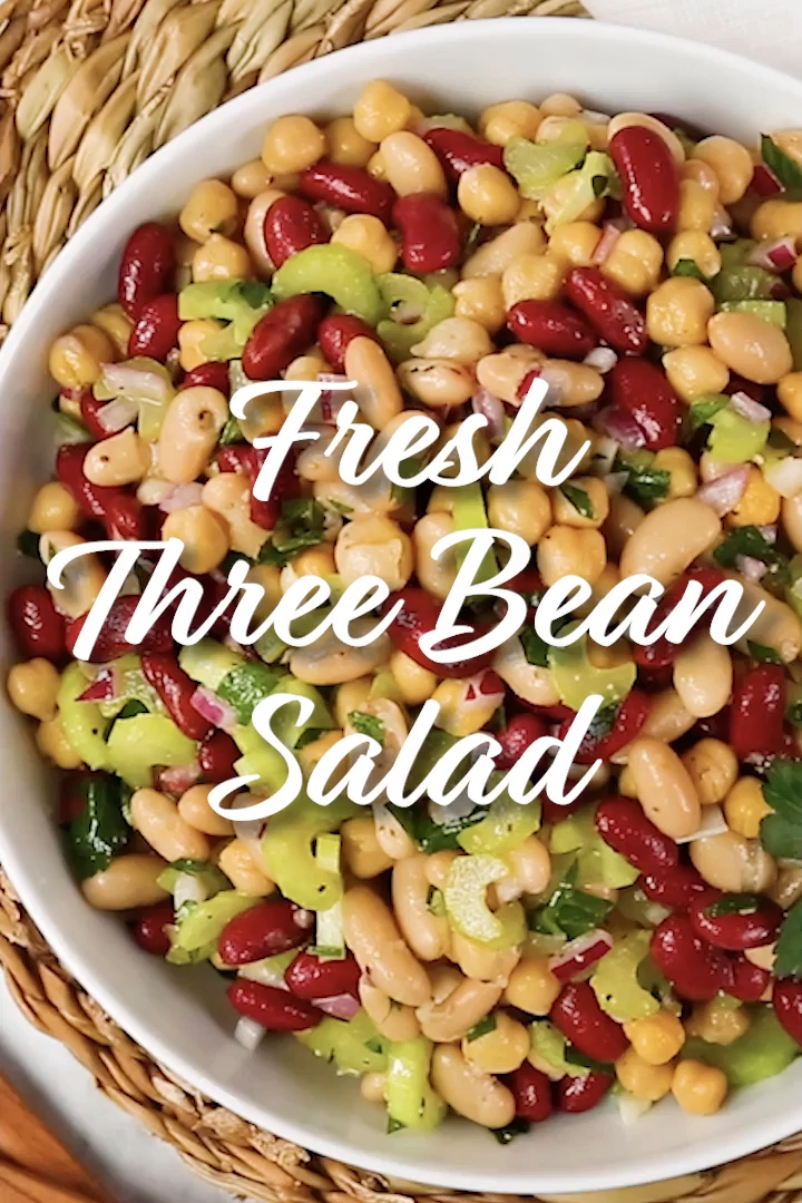 Fresh Three Bean Salad Video In 2020 Bean Salad Bean Salad Recipes Bean Salad Recipes Healthy