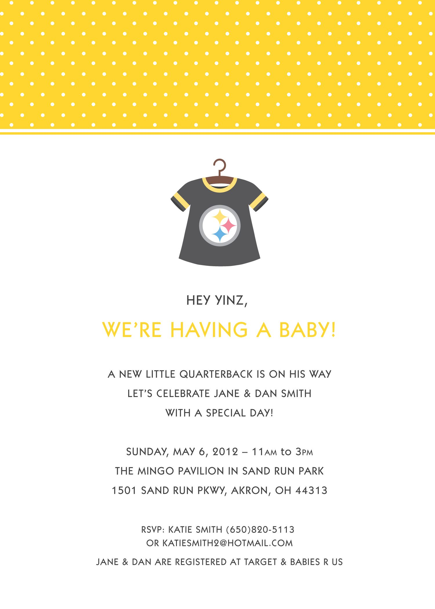 Steelers Baby Shower www.paperheartsinvites.etsy.com | Invitations ...