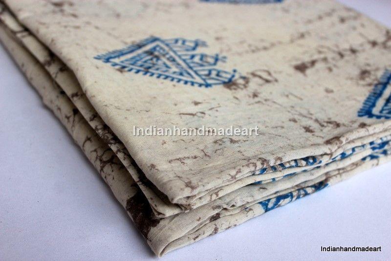 10 Yard Hand Block Print 100% Cotton Fabric mud resit  Dabu Print Soft Fabric 04 #Handmade