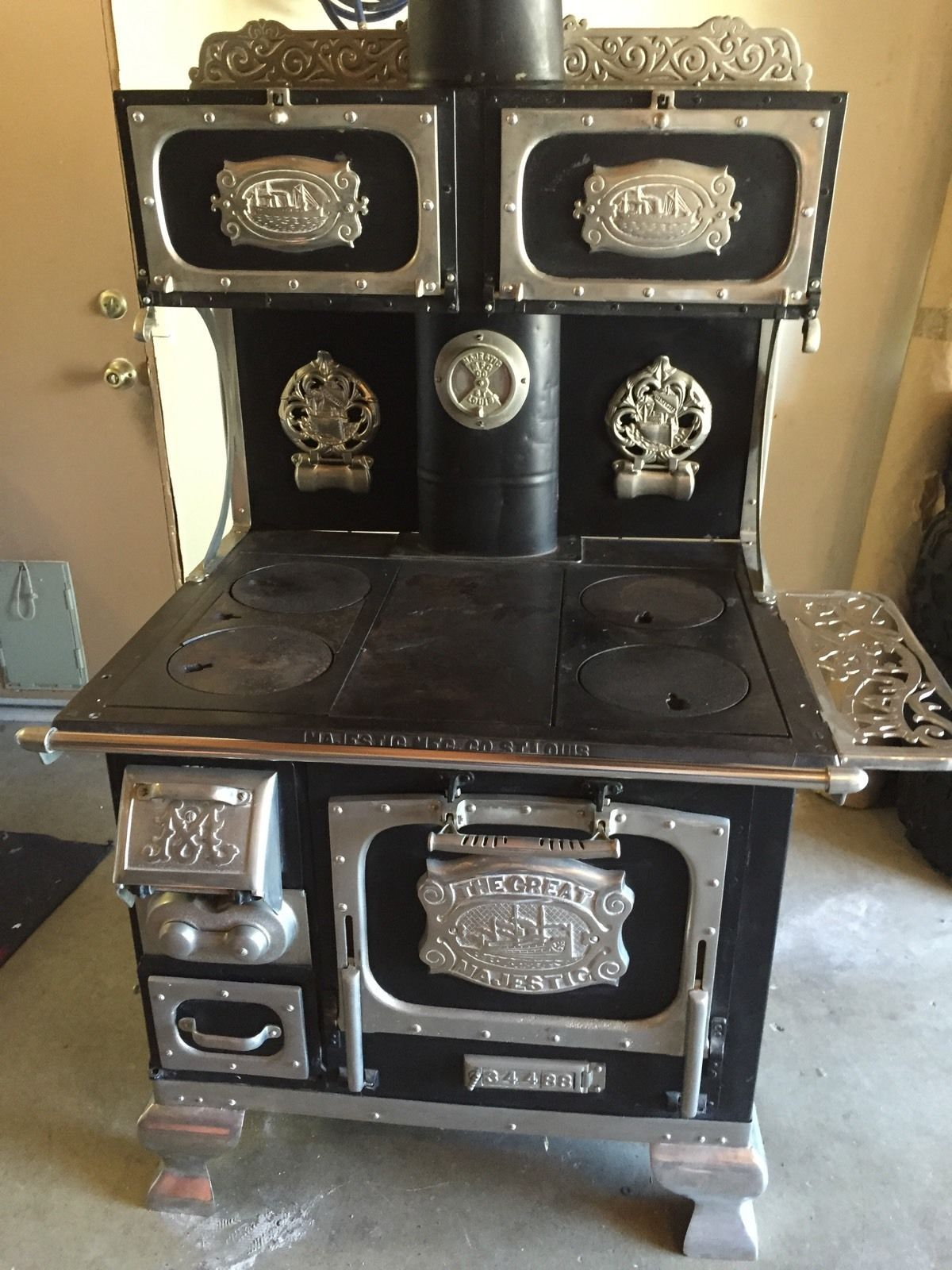 Great Majestic Wood Burning Stove Antique Cook Top Oven Restored Excellent Wood Burning Stove Antique Stove Cooktop