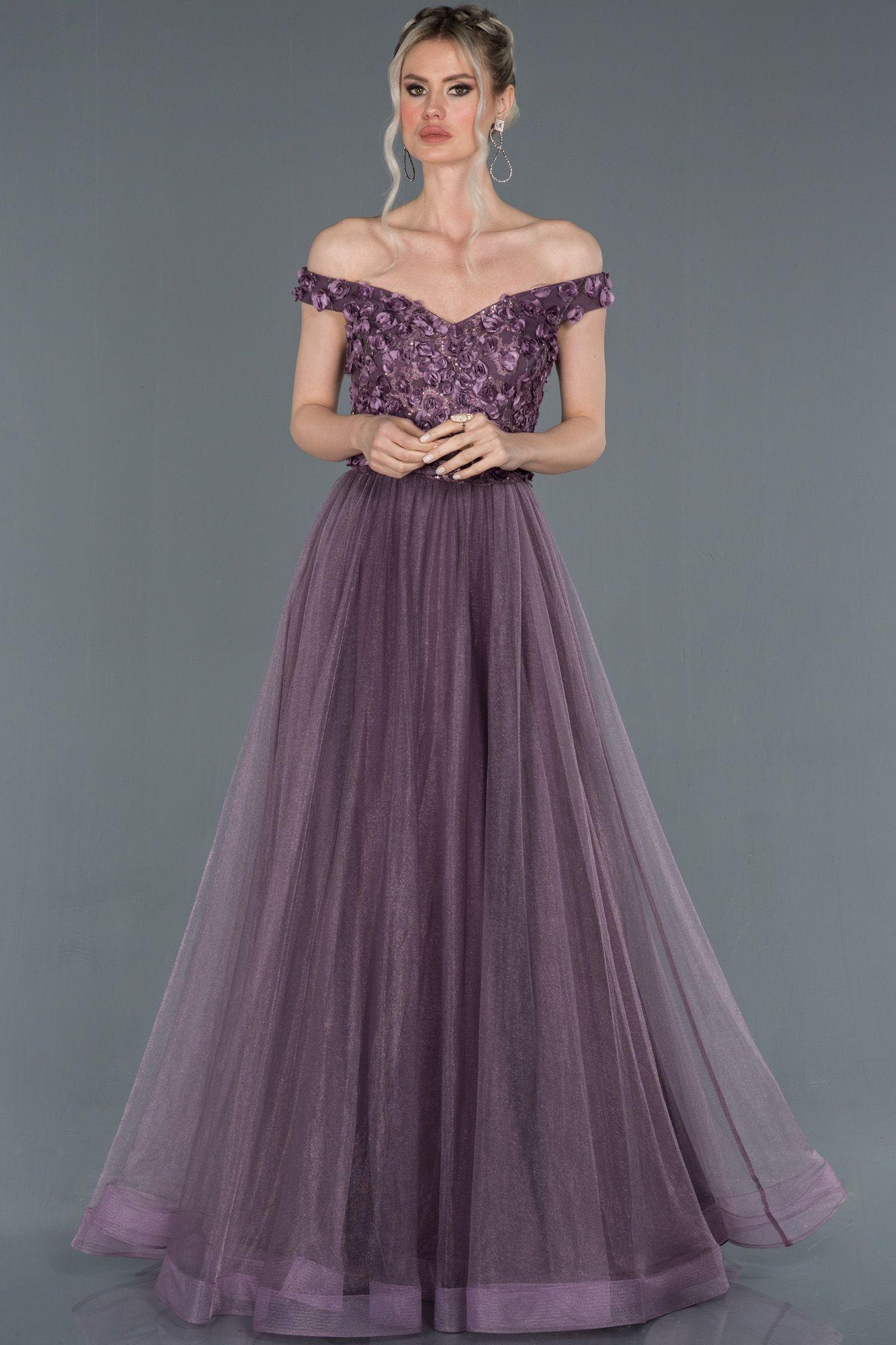 Lavanta Kayik Yaka Gul Islemeli Prenses Abiye Elbise Abu1203 2020 The Dress Elbise Aksamustu Giysileri