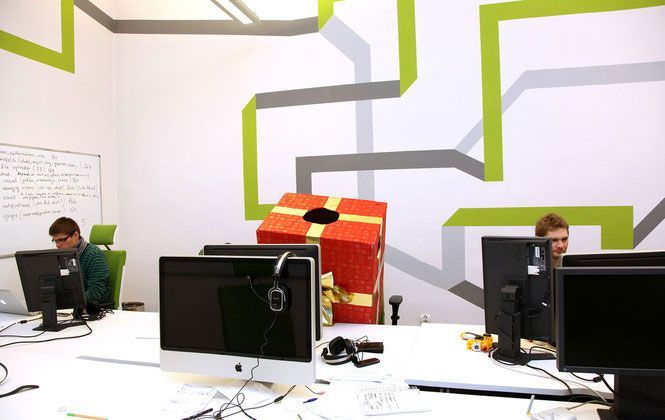 Wall Graphic Designs And This Office Wall Design With Line ...