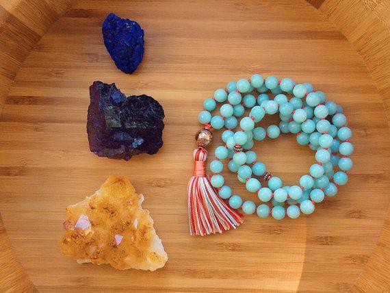 Mala 108 grano de rezo budista Yoga Mala Mala de por MishkaSamuel