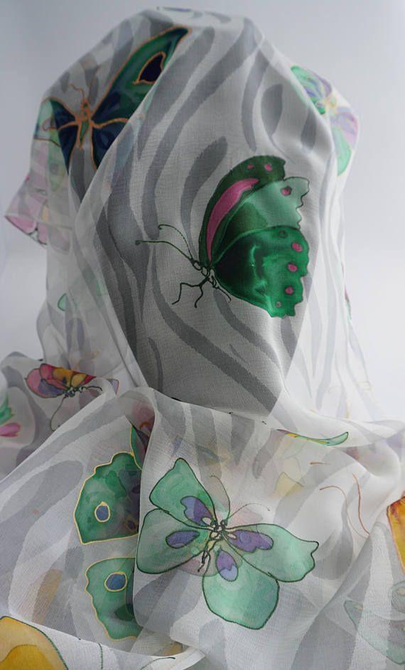 SEIDEN-SCHAL Schmetterlinge SCARF SILK Butterflies SEIDE