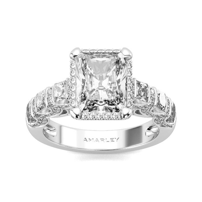 Sterling Silver 3.00 CT. Emerald Cut White CZ Cubic Zirconia Halo Ring