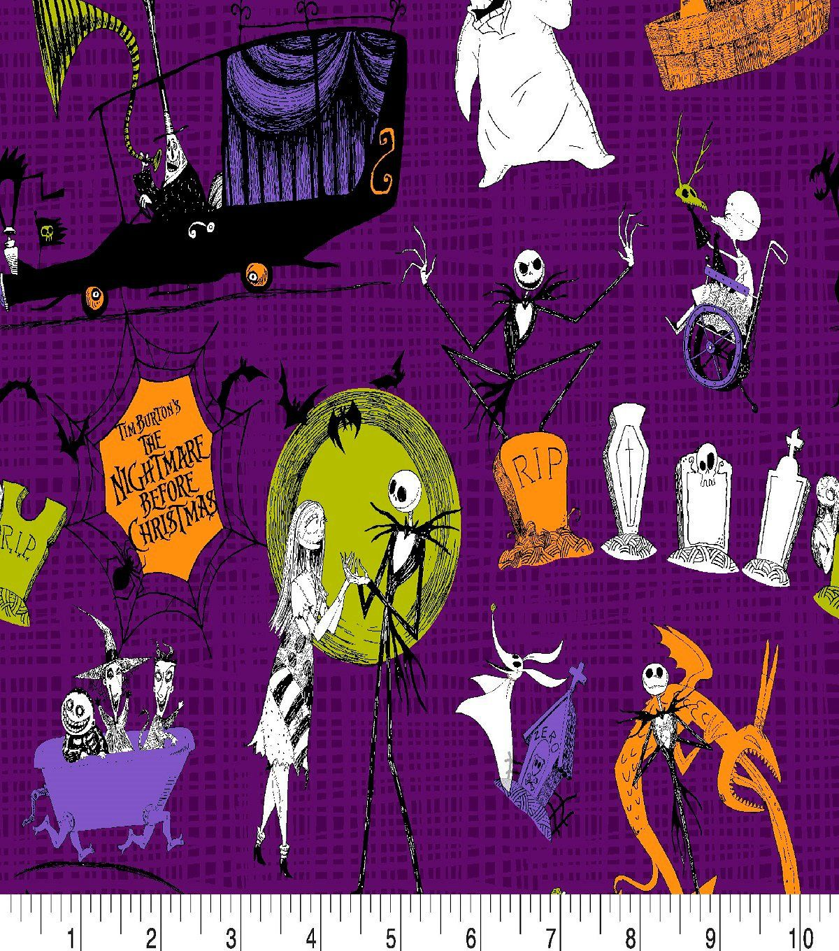 Disney Christmas Fabric By The Yard.Nightmare Before Christmas Nbc Scenes Fabric By The Yard
