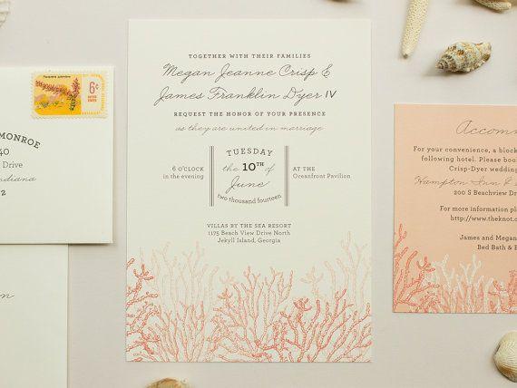 Destination Wedding Invitation Coral Reef By BanterandCharm