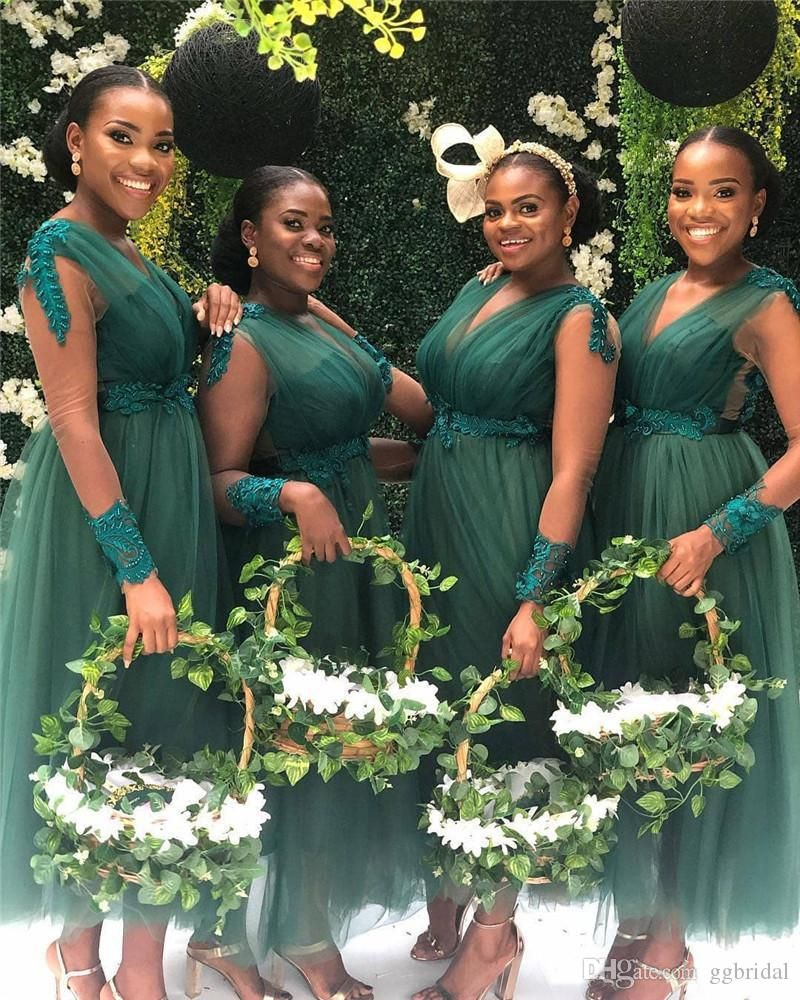 African Nigeria Bridesmaid Dress Long Ankle Length Green A Line Maid Of Honor Dr African Bridesmaid Dresses Short Bridesmaid Dresses Country Bridesmaid Dresses