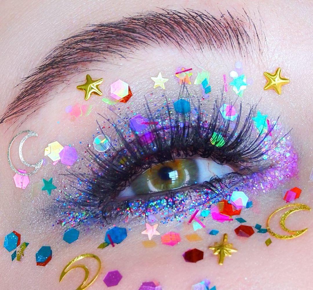 Star cluster 🌟 🌙 Confetti and Glitter Eye Makeup Glitter